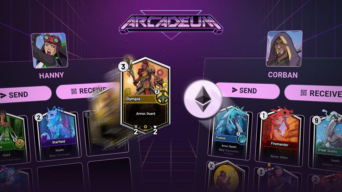 Arcadeum - two players trade SkyWeaver cards
