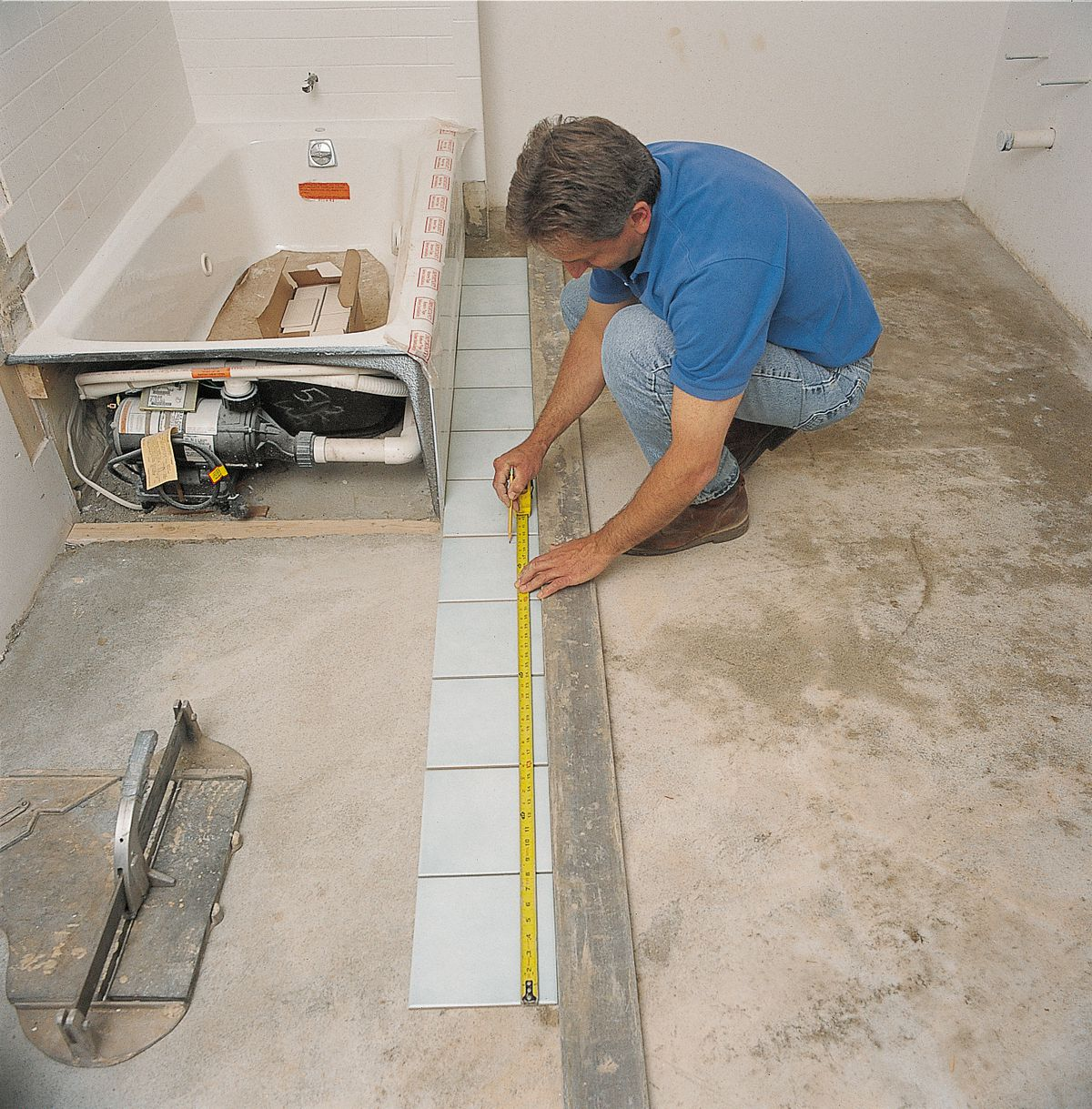Laying Out Ceramic Tile In Bathroom