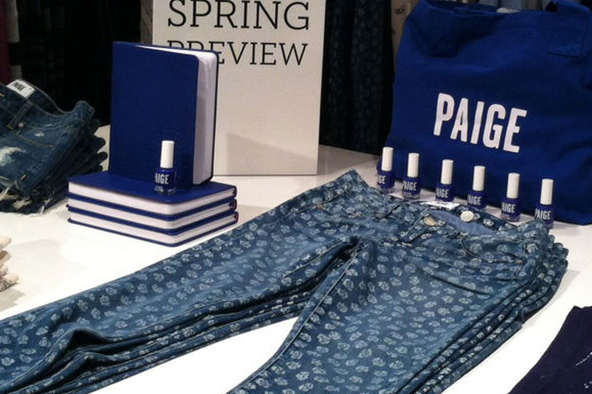 A Paige display featuring the rose jeans at Ron Herman on Melrose