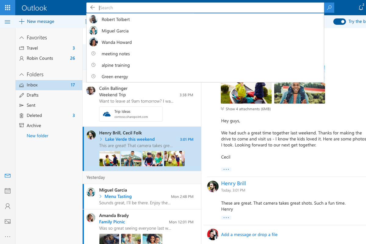 Microsoft's New Outlook.com Design Includes Better Search
