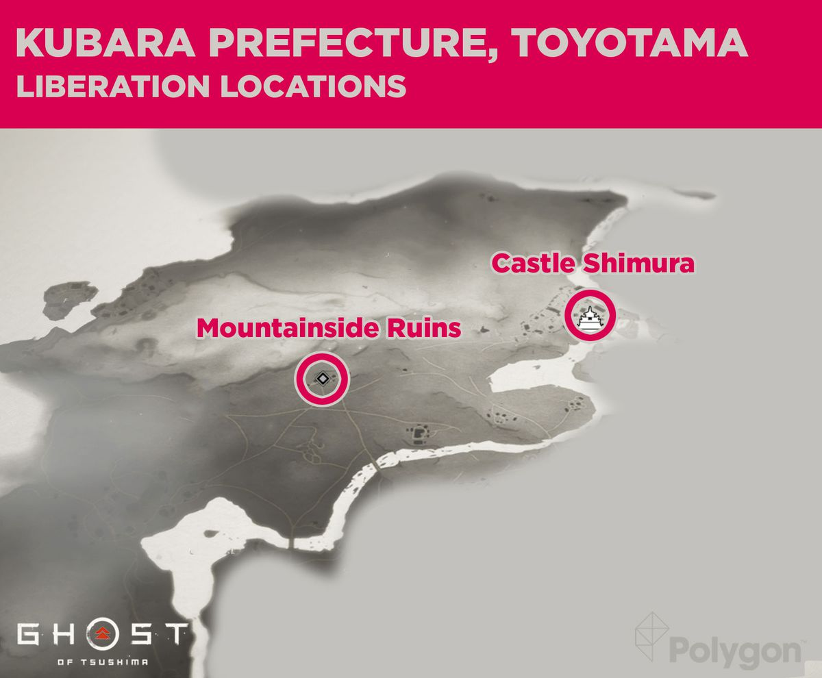 Kubara prefecture liberation locations in Ghost of Tsushima including: Mountainside Ruins, and Castle Shimura.