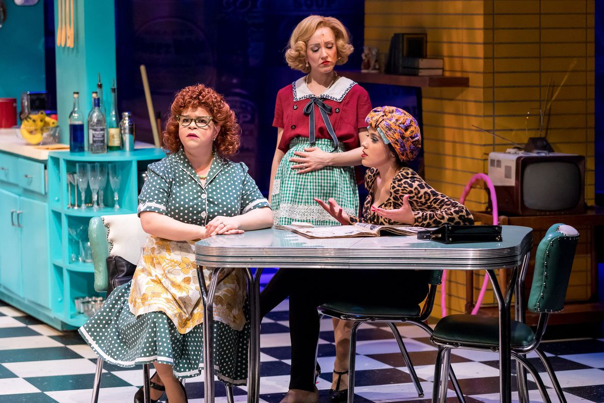 """Dottie (Maissa Rosen, from left), Connie (Libby Servais) and Agnes (Linedy Genao) discuss their lives and the state of the world in """"A Taste of Things to Come."""" 