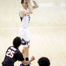 Brigham Young Cougars guard Brandon Warr (2) shoots during the game against the Pacific Tigers at the Marriott Center in Provo on Saturday, Jan. 30, 2021.