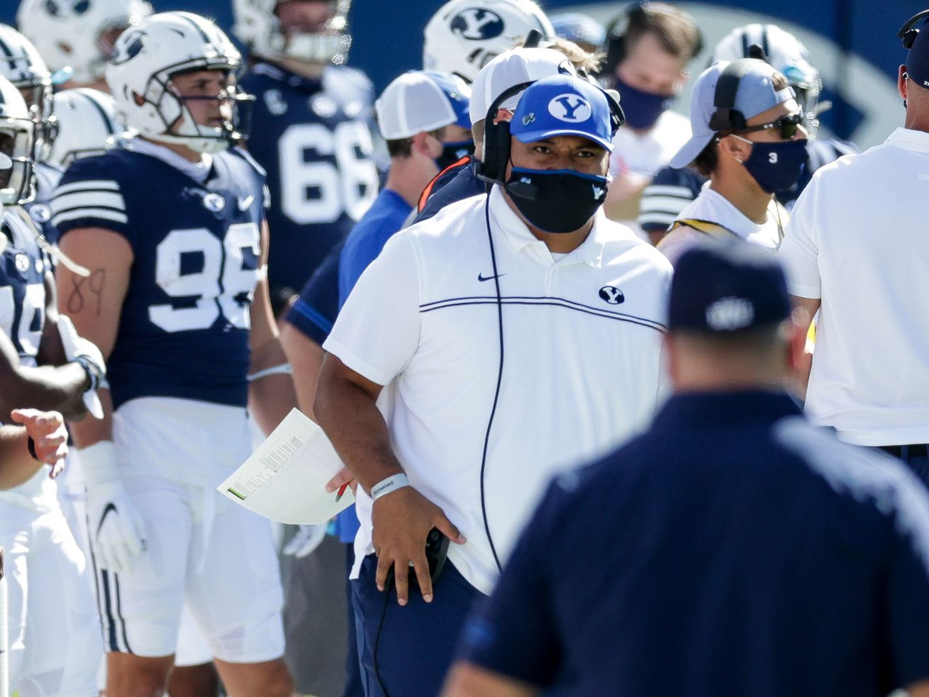 Brigham Young Cougars head coach Kalani Sitake works the sideline during the game against the UTSA Roadrunners at LaVell Edwards Stadium in Provo on Saturday, Oct. 10, 2020.