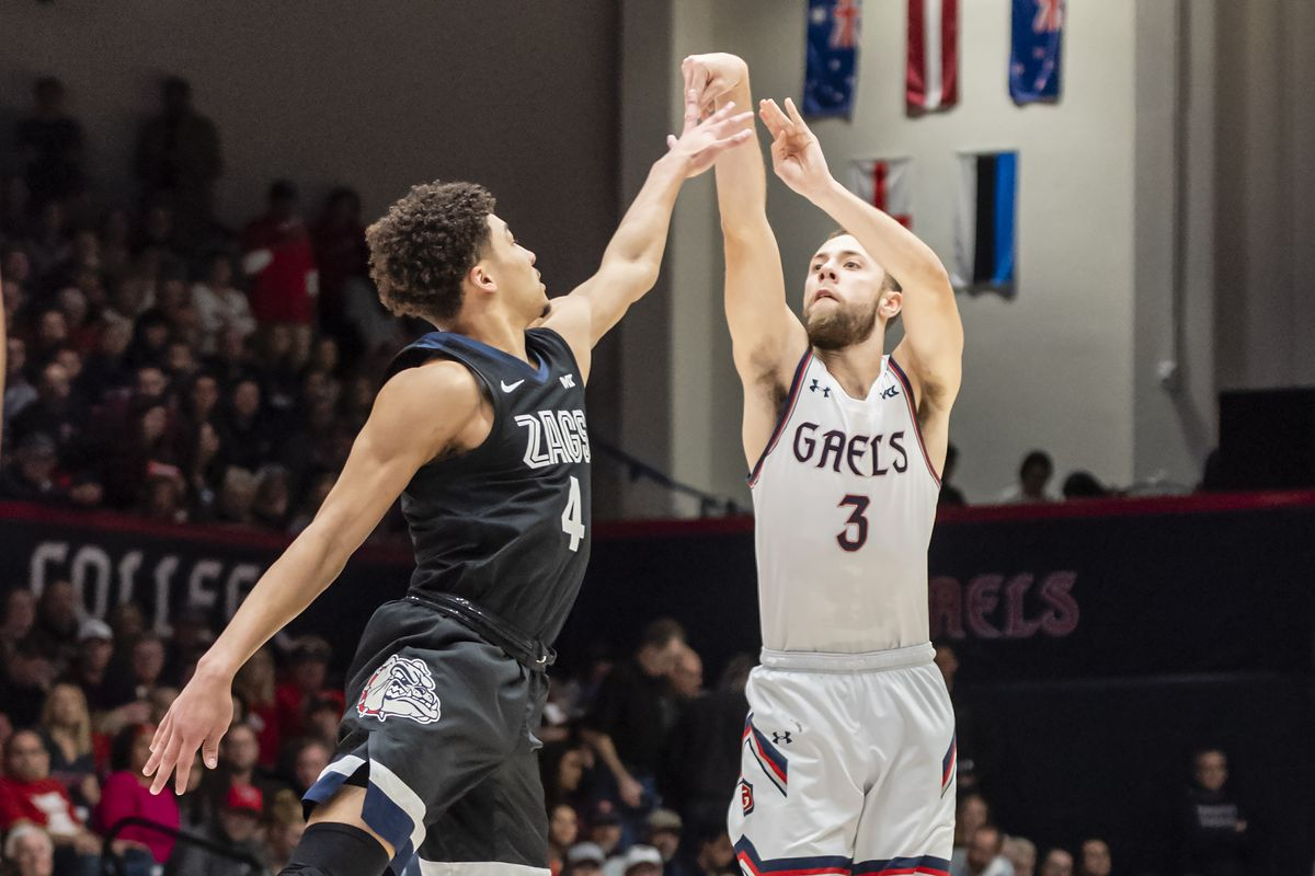 St. Mary's Gaels guard Jordan Ford takes a 3-point shot over Gonzaga Bulldogs guard Ryan Woolridge during the game between the Saint Mary's Gaels and the Gonzaga Bulldogs on Saturday, February 08, 2020 at the McKeon Pavilion in Moraga, California.