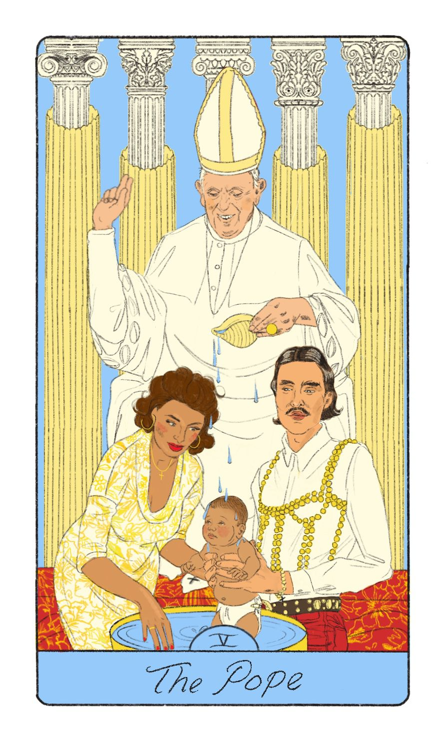 The Pope tarot card, with the pope presiding over a baptism where the godparents are queer. The godfather has long hair, a thin mustache, and is wearing a gold-pleated bralette over his dress shirt, holding his nephew or his niece as the Pope takes a shell pasta shaped container and pours the baptism water over their head