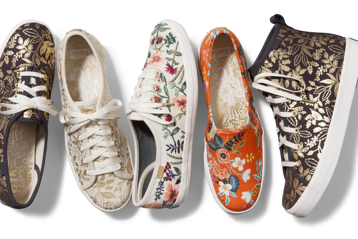 Five Keds sneakers in a floral pattern