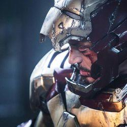 "Robert Downey Jr. as Tony Stark/Iron Man in a scene from Marvel's ""Iron Man 3."""