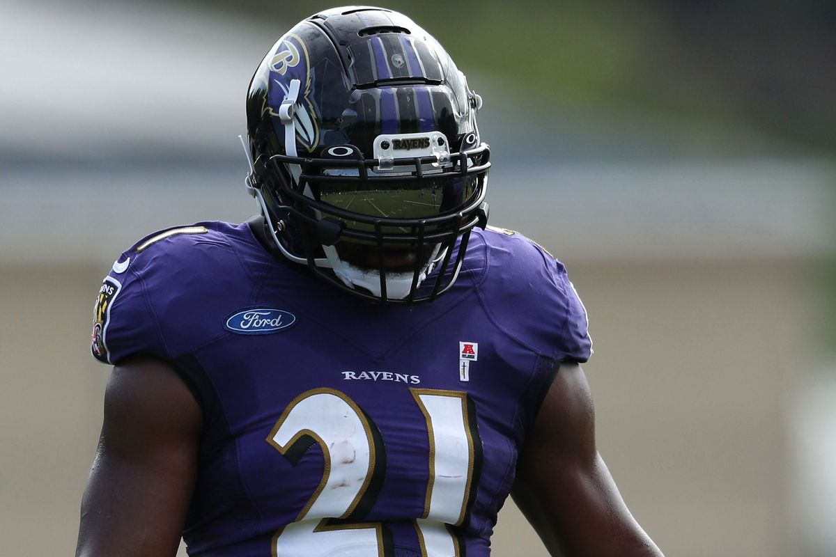 Running back Mark Ingram II #21 of the Baltimore Ravens looks on during the Baltimore Ravens Training Camp at Under Armour Performance Center Baltimore Ravens on August 17, 2020 in Owings Mills, Maryland.