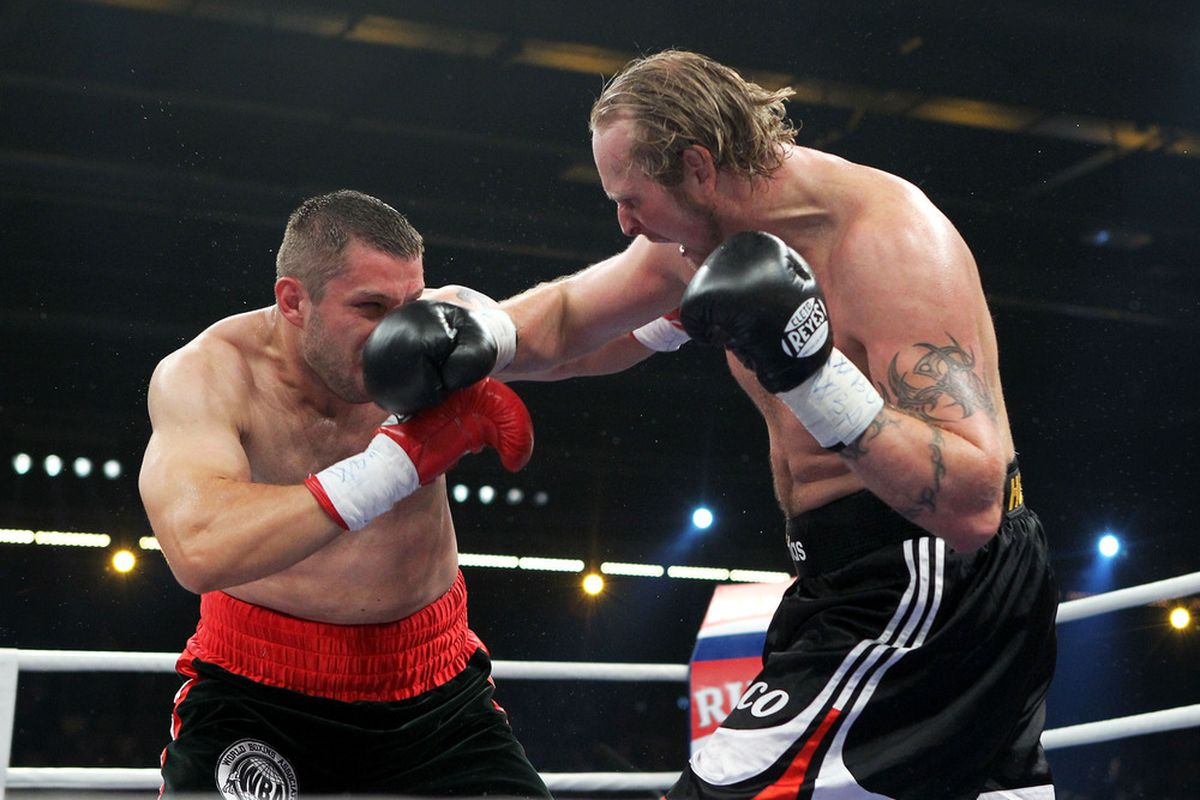 Robert Helenius eventually overpowered Sergei Liakhovich in a good fight today in Germany. (Photo by Boris Streubel/Bongarts/Getty Images)