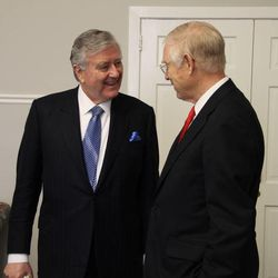 Sen. Larry Pressler, left, who served three terms in the U.S. Senate from 1979-1996 for the state of South Dakota, speaks with Ralph W. Hardy, a former area Seventy for the LDS Church, following sacrament meeting for the Chevy Chase Ward in Chevy Chase, Maryland, on Sunday, April 19, 2015.