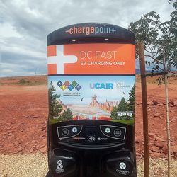 A DC fast charger manufactured by Chargepoint.