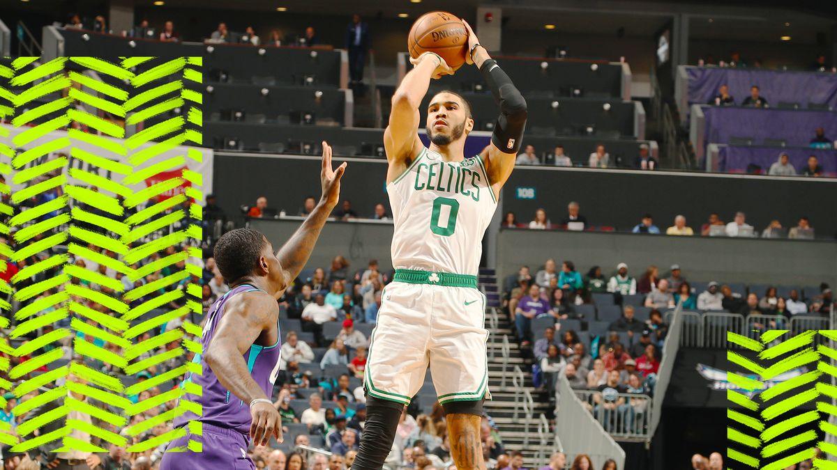 Jayson Tatum takes a shot for the Celtics.