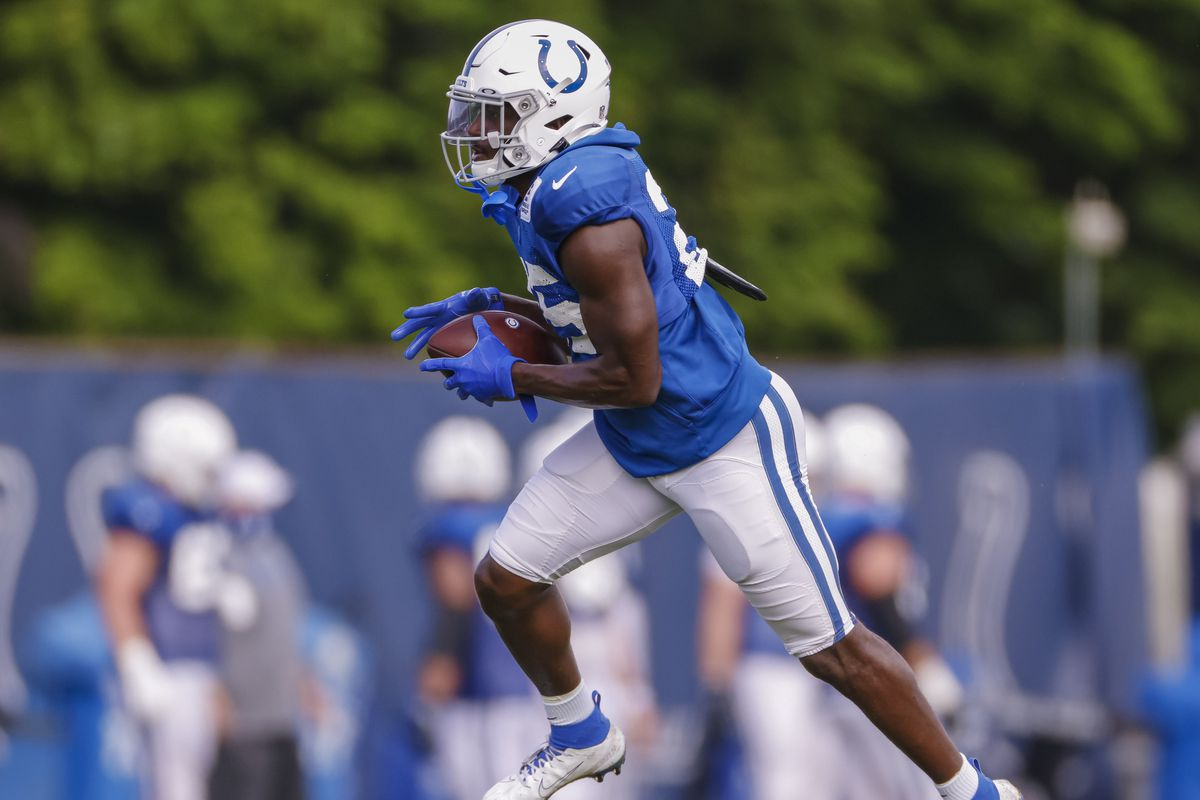 Marlon Mack of the Indianapolis Colts is seen during training camp at Indiana Farm Bureau Football Center on August 28, 2020 in Indianapolis, Indiana.