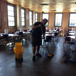 No rest for the weary: Chef/owner Ronnie Killen mopping the floor.