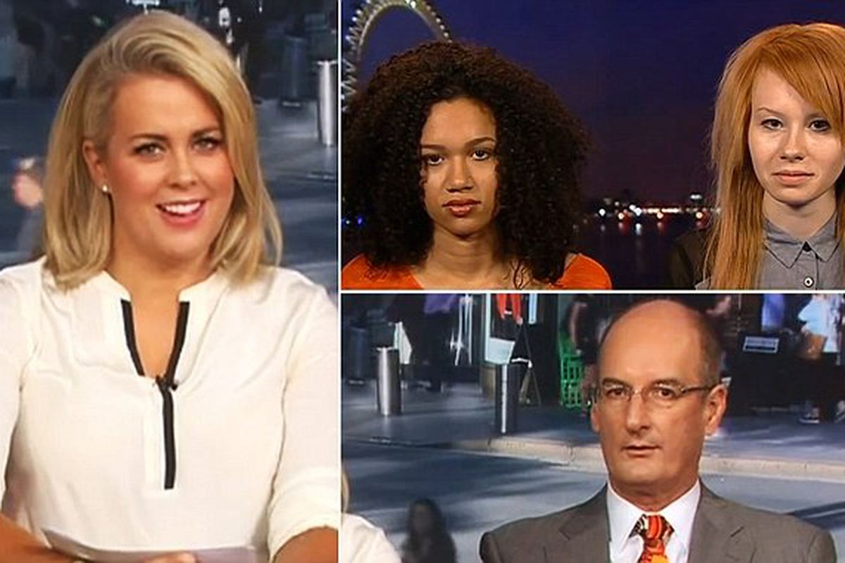 Hosts Samantha Armytage and David Koch with twins Lucy and Maria Aylmer.