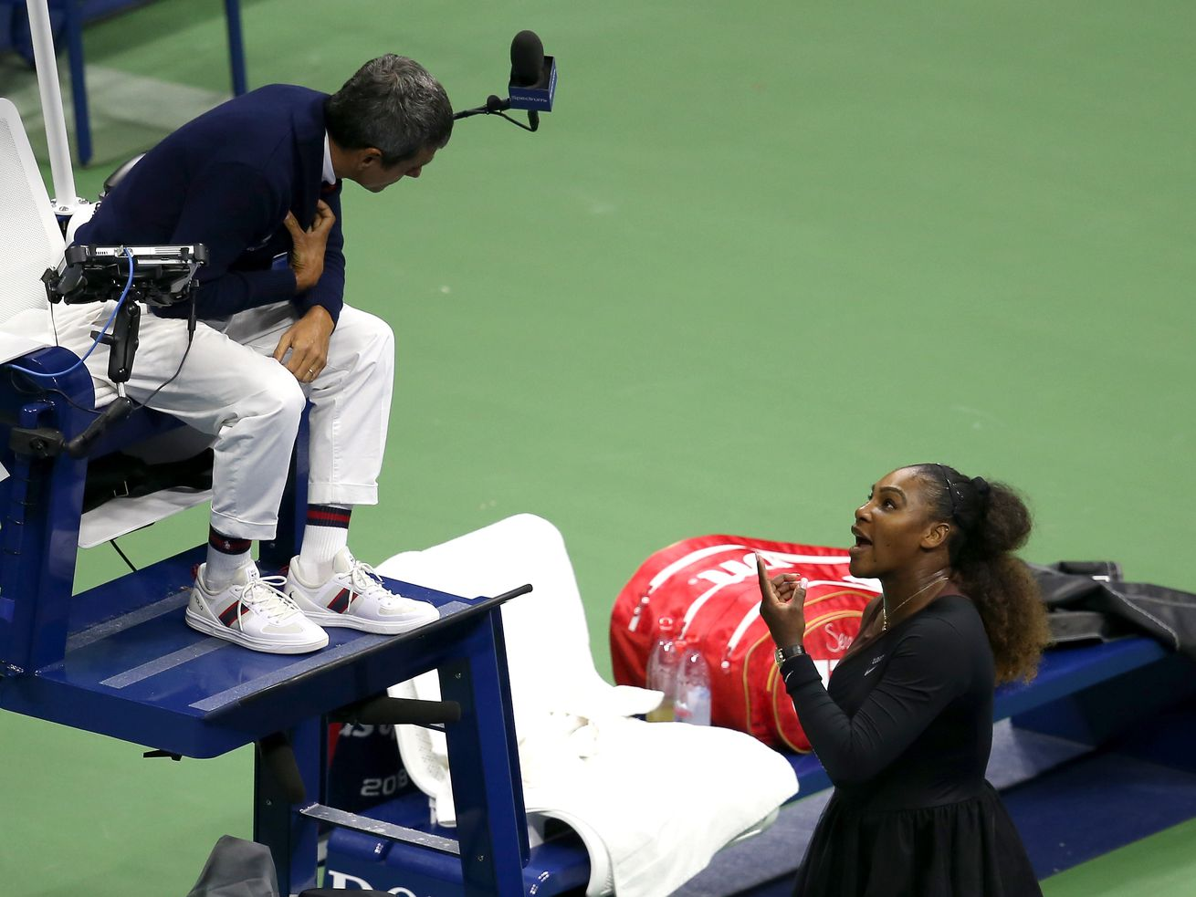 Serena Williams argues with umpire Carlos Ramos during the women's singles final match against Naomi Osaka at the US Open.