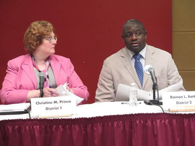IPS school board candidates Christine Prince and Ramon Batts at Wednesday's candidate forum.