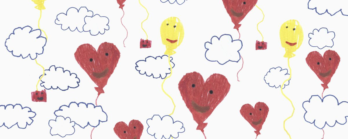 Child's drawing of yellow and red balloons in the clouds.
