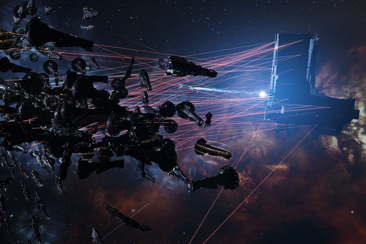 Lasers arc out from hundreds of ships, large and small, attacking a massive starbase which returns fire, in Eve Online