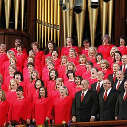Members of Mormon Tabernacle Choir perform in dress rehearsal July 19, 2012 for Pioneer Day Concert.