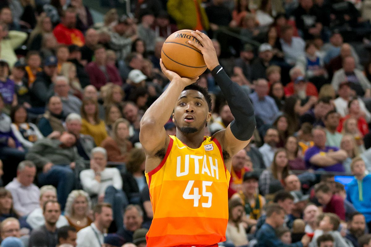 Utah Jazz guard Donovan Mitchell shoots the ball during the second half against the Charlotte Hornets at Vivint Smart Home Arena.