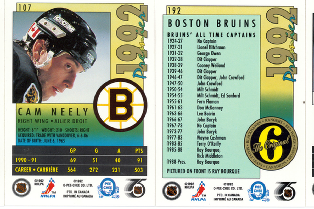 O-Pee-Chee 1992 Bruins Cards - Back