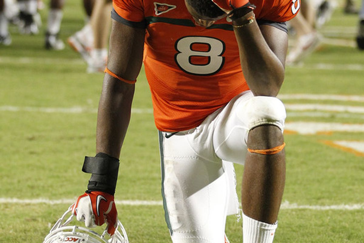 Someone needs to tell Miami's Tommy Streeter that this isn't really how Tebowing works.