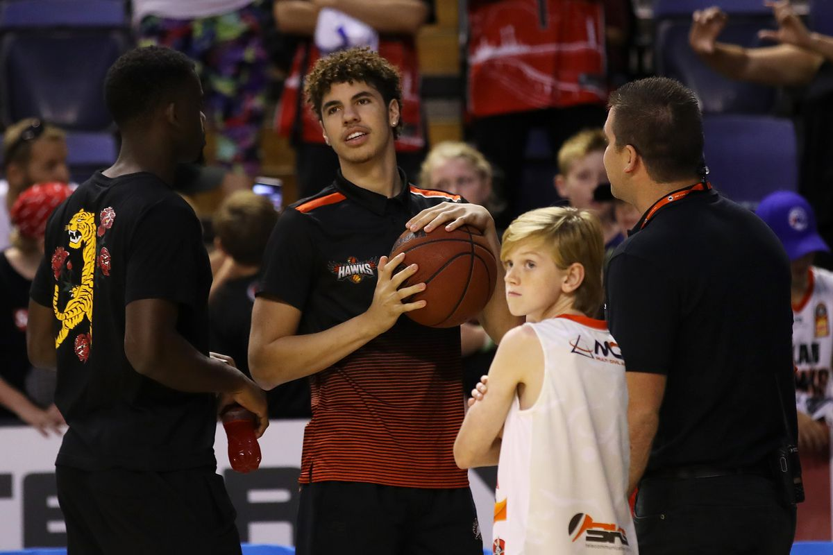 Injured Hawks player Lamelo Ball is seen on court after the round 15 NBL match between the Illawarra Hawks and the Perth Wildcats at the WIN Entertainment Centre on January 10, 2020 in Wollongong, Australia