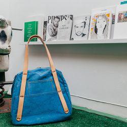 <b>Thomas Benjamin Chamberlain</b> Natural Indigo Bag, $275