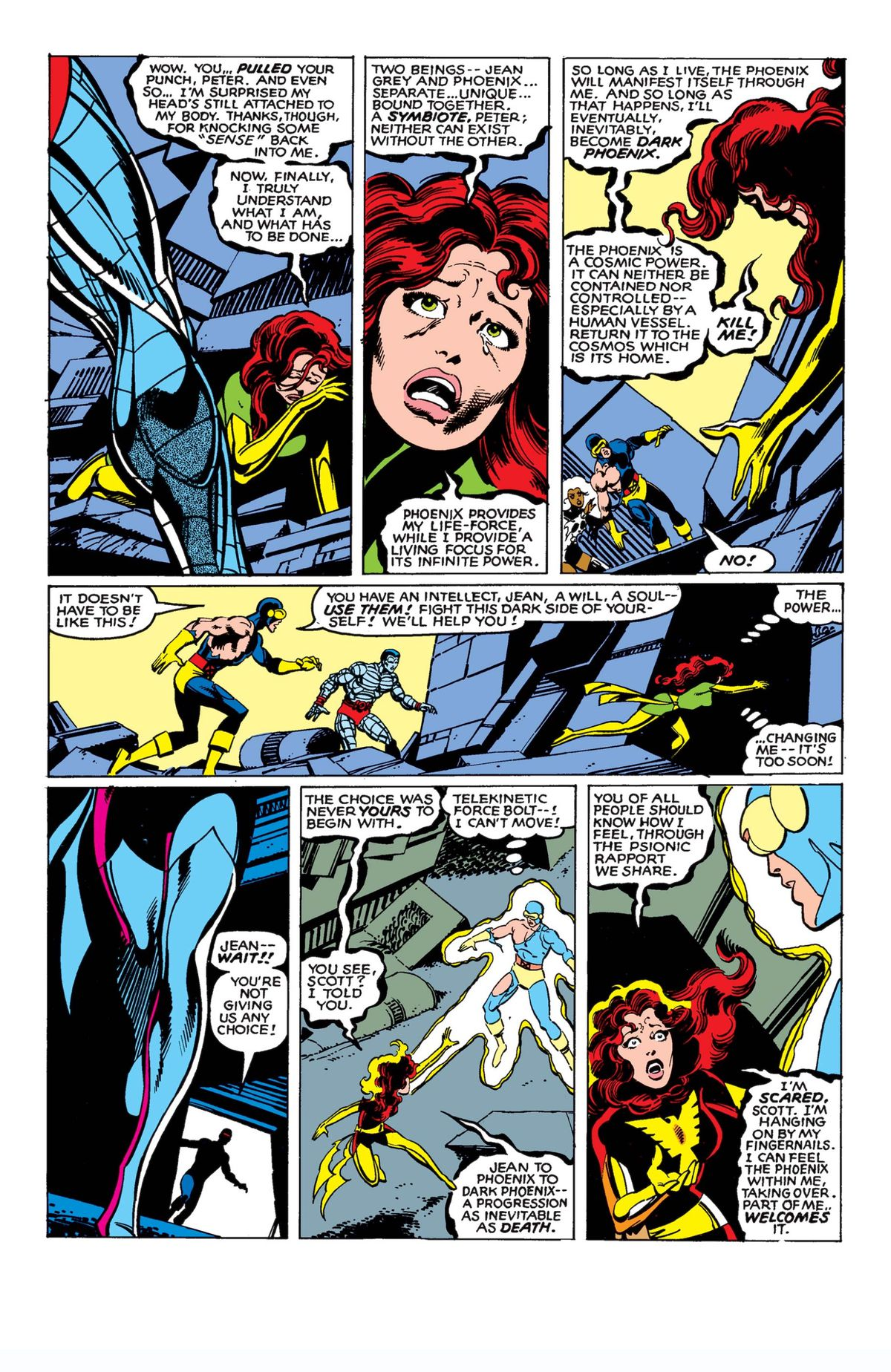 Jean Grey chooses to die in Uncanny X-Men #137, The Phoenix Saga, Marvel Comics (1980).