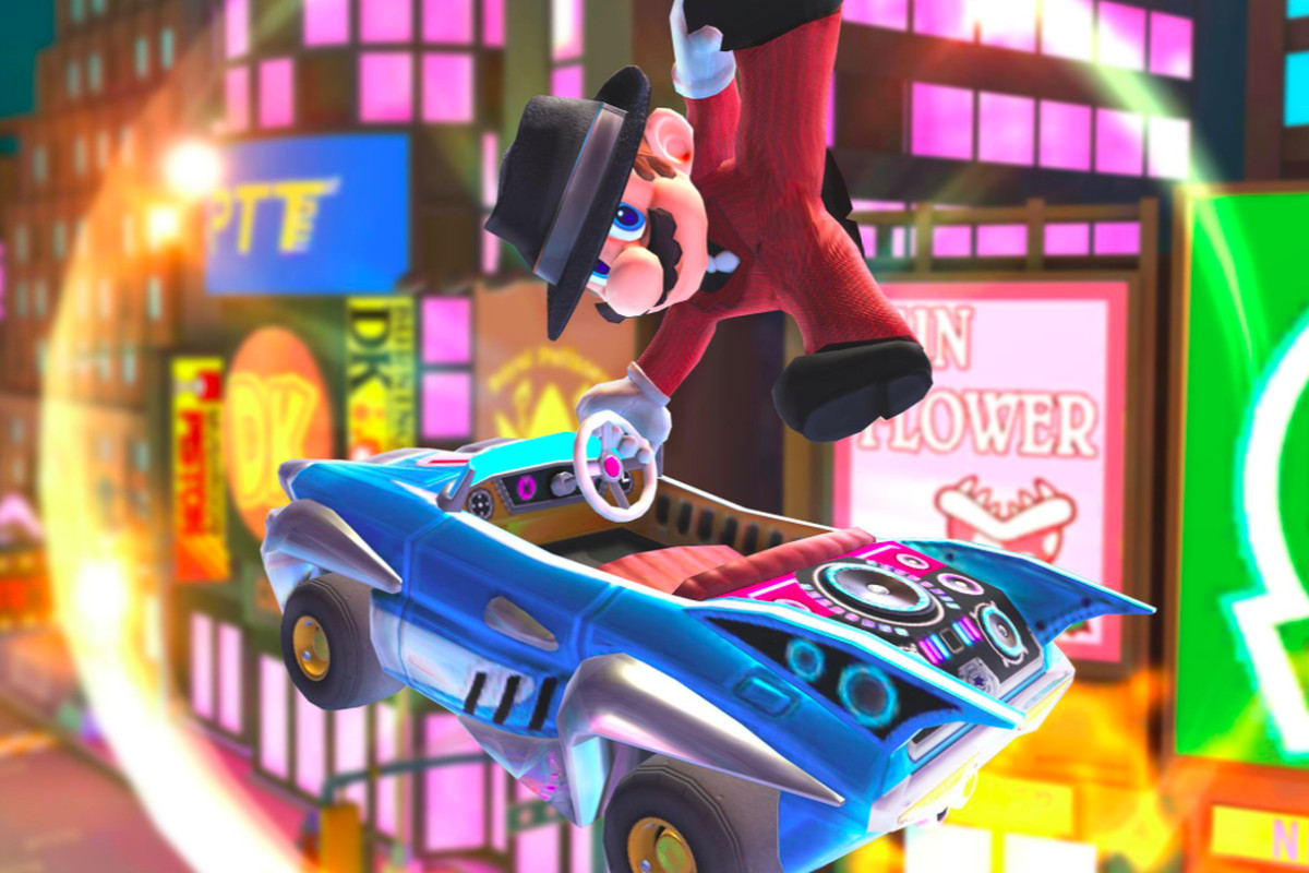 Mario drives a car.