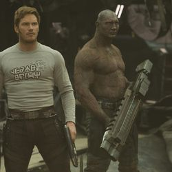 """""""Guardians of the Galaxy Vol. 2"""" featured Chris Pratt (left) as Star-Lord/Peter Quill and Dave Bautista (right) as Drax. Pratt and his wife Anna Faris announced their separation on Aug. 7."""