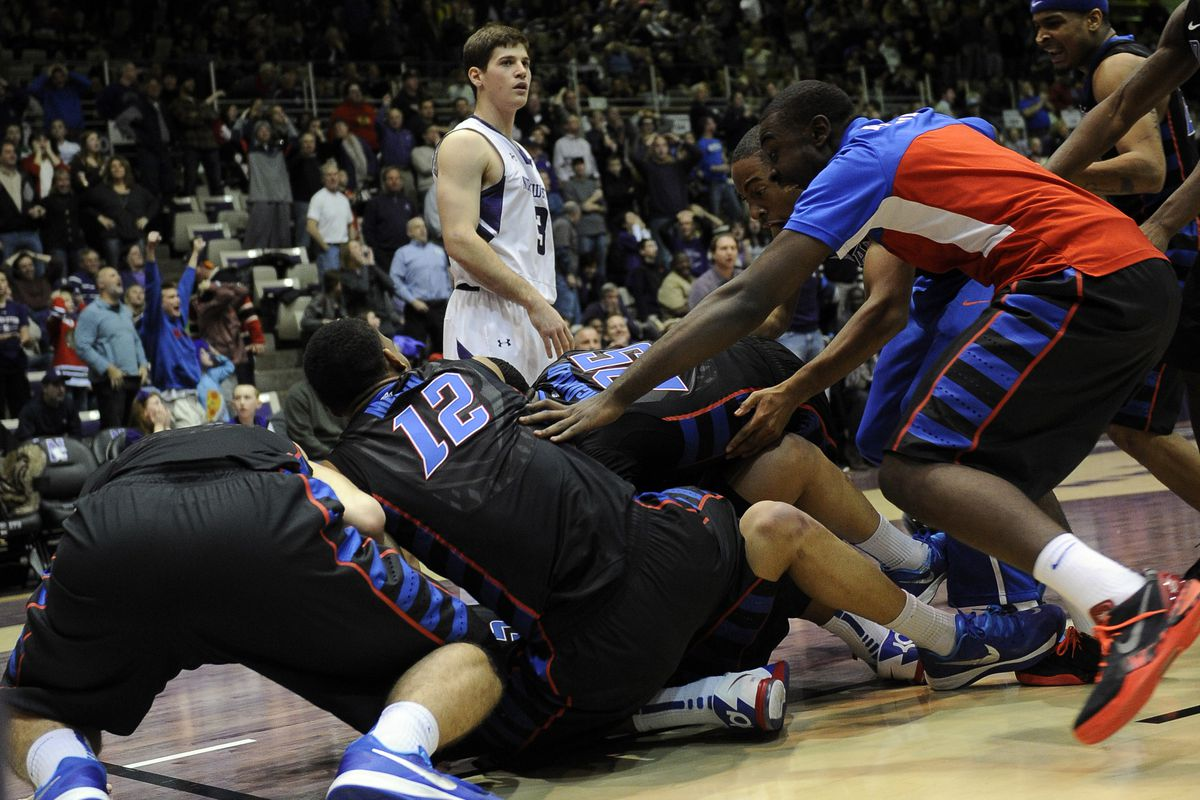 DePaul celebrates their buzzer beater win over Northwestern in their last matchup.