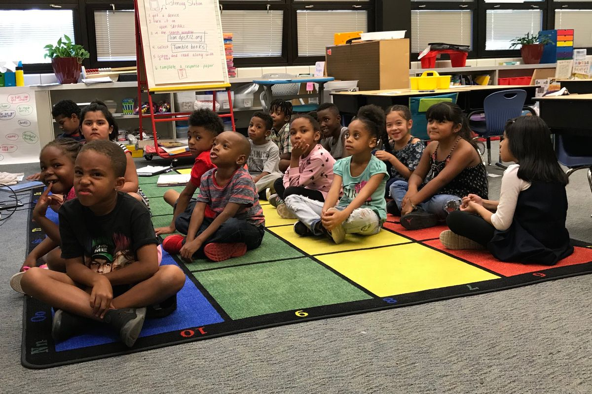 Students at Denver's Hallett Academy, which was celebrated for having no suspensions in its youngest grades.