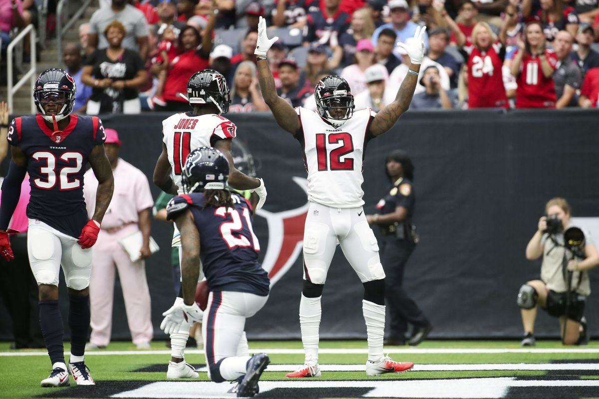 Atlanta Falcons wide receiver Mohamed Sanu reacts after scoring a touchdown during the first quarter against the Houston Texans at NRG Stadium.