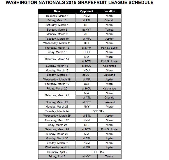Nationals 2015 Spring Training Sch