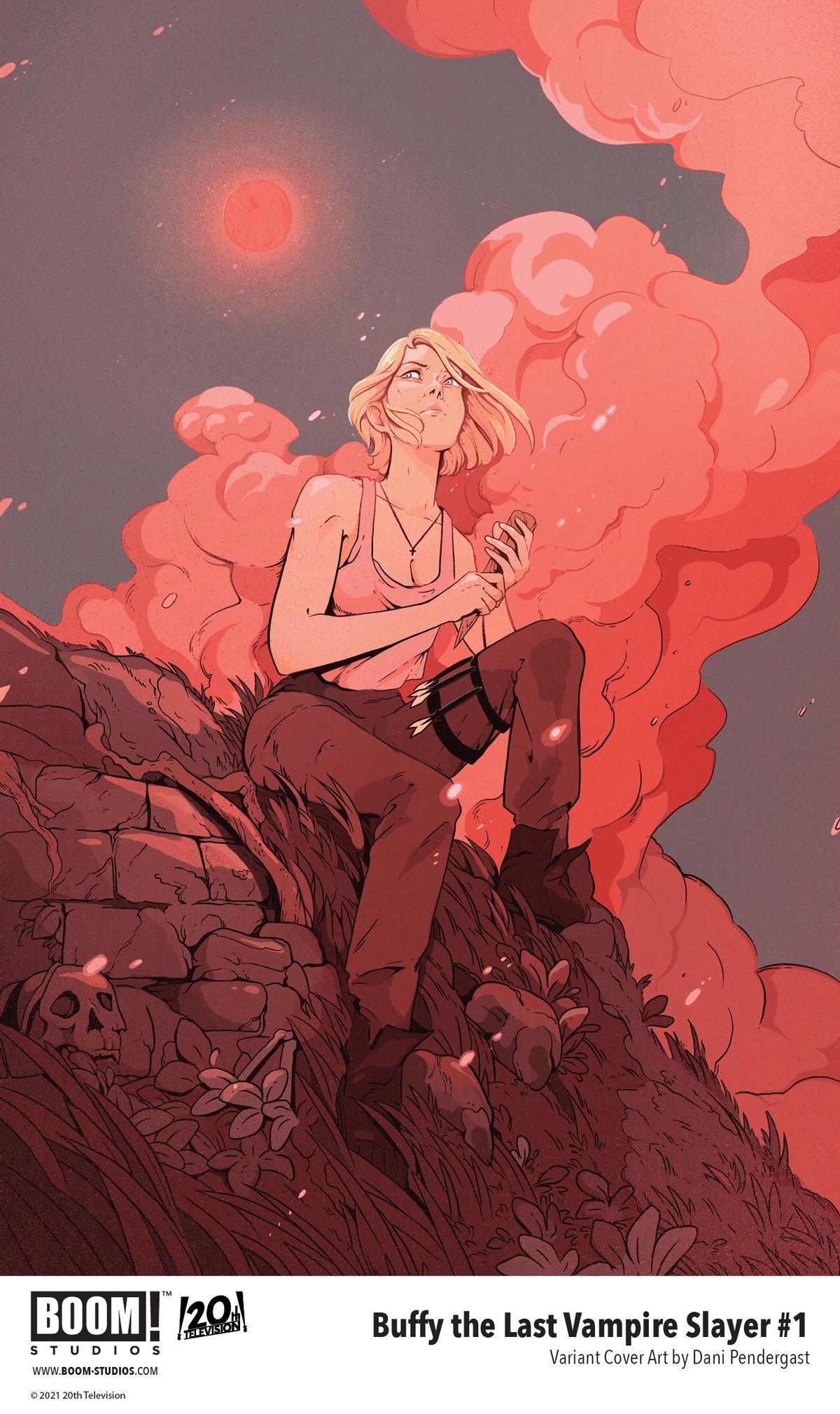 Buffy the Last Vampire Slayer - a variant cover for the first issue, showing an older Buffy Summers sitting on a dark hillside, surrounded by skulls, holding a stake.