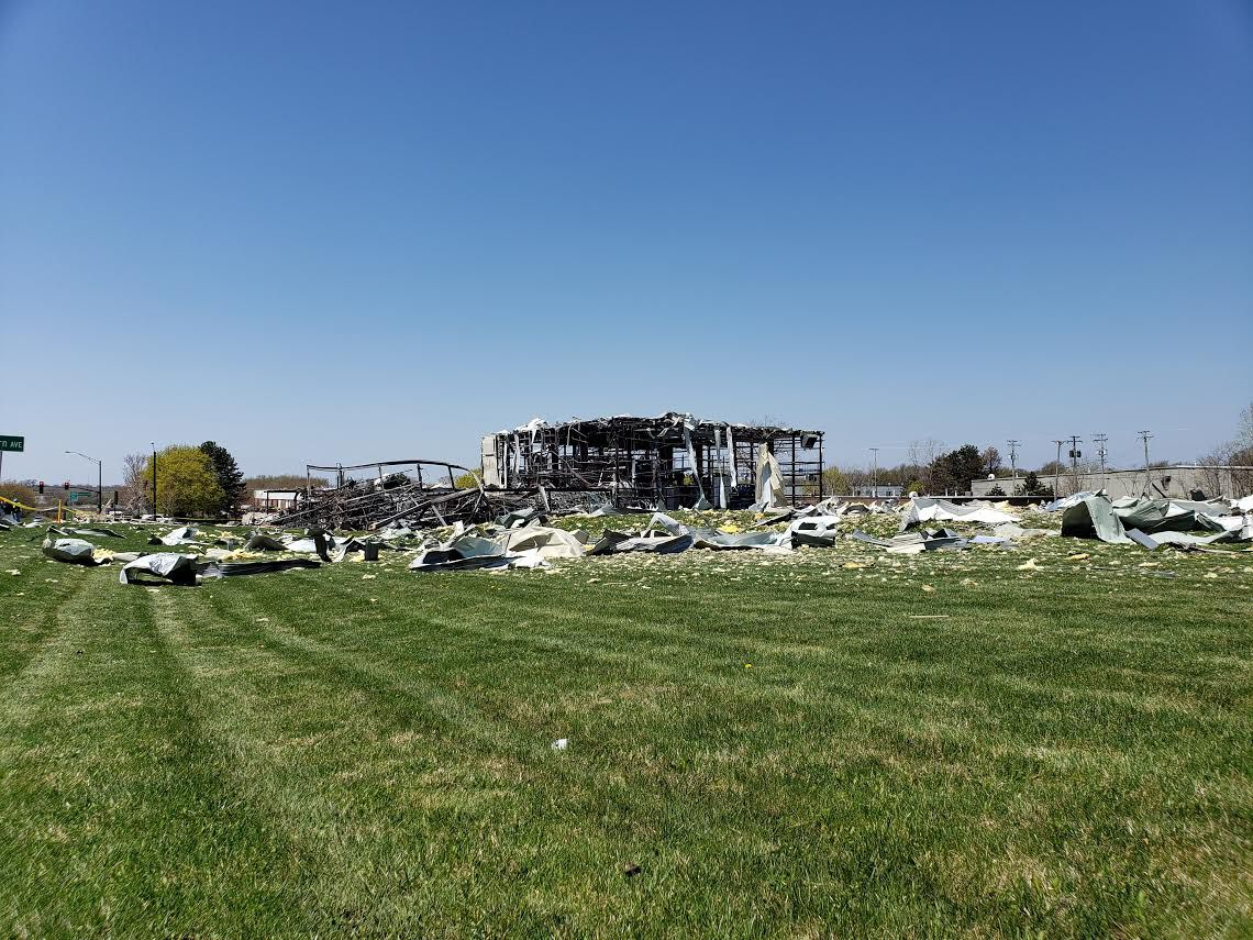 AB Specialty Silicones in Waukegan after Friday night's explosion.   Nader Issa for the Sun-Times