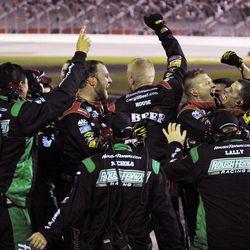 Ricky Stenhouse Jr.'s crew celebrates after winning the NASCAR Nationwide Series auto race at Atlanta Motor Speedway, Saturday, Sept. 1, 2012, in Hampton, Ga.