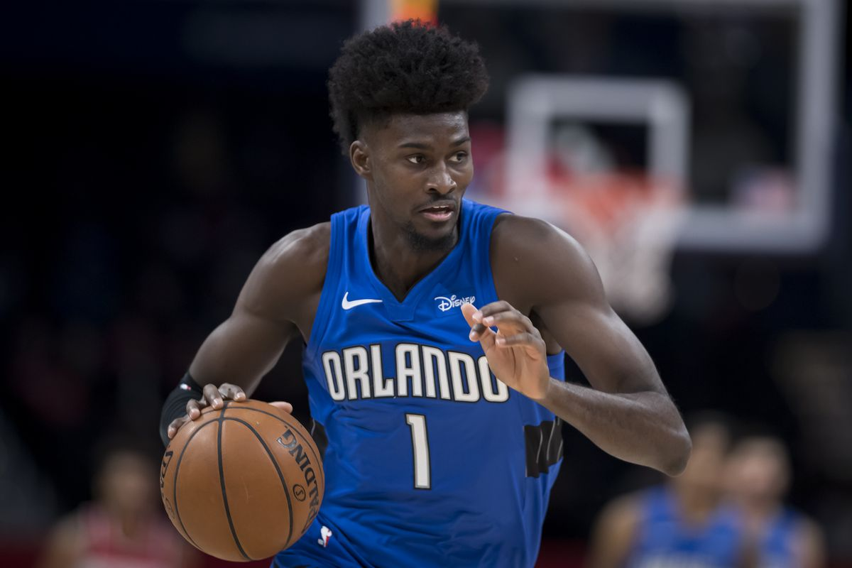 Jonathan Isaac of the Orlando Magic dribbles the ball against the Washington Wizards during the first half at Capital One Arena on January 1, 2020 in Washington, DC.