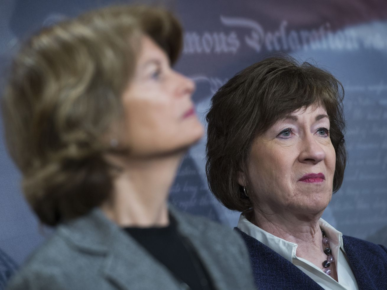 Sens. Lisa Murkowski (R-AK), left, and Susan Collins (R-ME). The two are considered pivotal votes in the upcoming Supreme Court confirmation process.