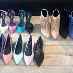 Now available at Elyse Walker's Pacific Palisades boutique: Lady sling backs (top left) and Barbara pointed-toe flats (bottom), both $495.