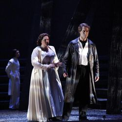 """In this undated photo provided by the Houston Grand Opera, Tamara Wilson as Elisabeth de Valois and Brandon Jovanovich as Don Carlos perform in the Houston Grand Opera's production of """"Don Carlos"""" in Houston. The Houston Grand Opera is offering the original French-language version and restoring several scenes that are still rarely included."""