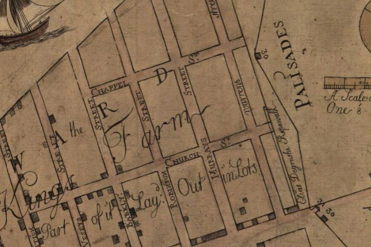 A detail from the 1754 Maerschalk map of New York City.