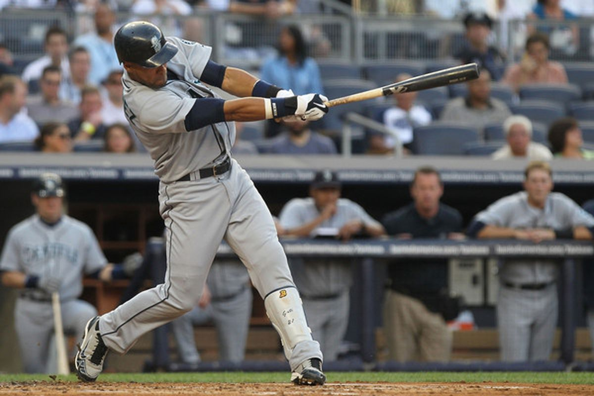 NEW YORK - JUNE 29: Franklin Gutierrez #21 of the Seattle Mariners hits an RBI single against the New York Yankees at Yankee Stadium on June 29, 2010 in the Bronx borough of New York City.  (Photo by Nick Laham/Getty Images)