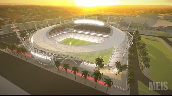LAFC stadium rendering sunset Meis