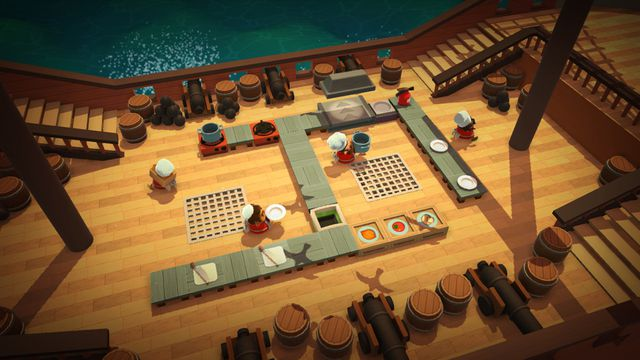 Cooking while sailing the nauseating seas in <em>Overcooked</em>.