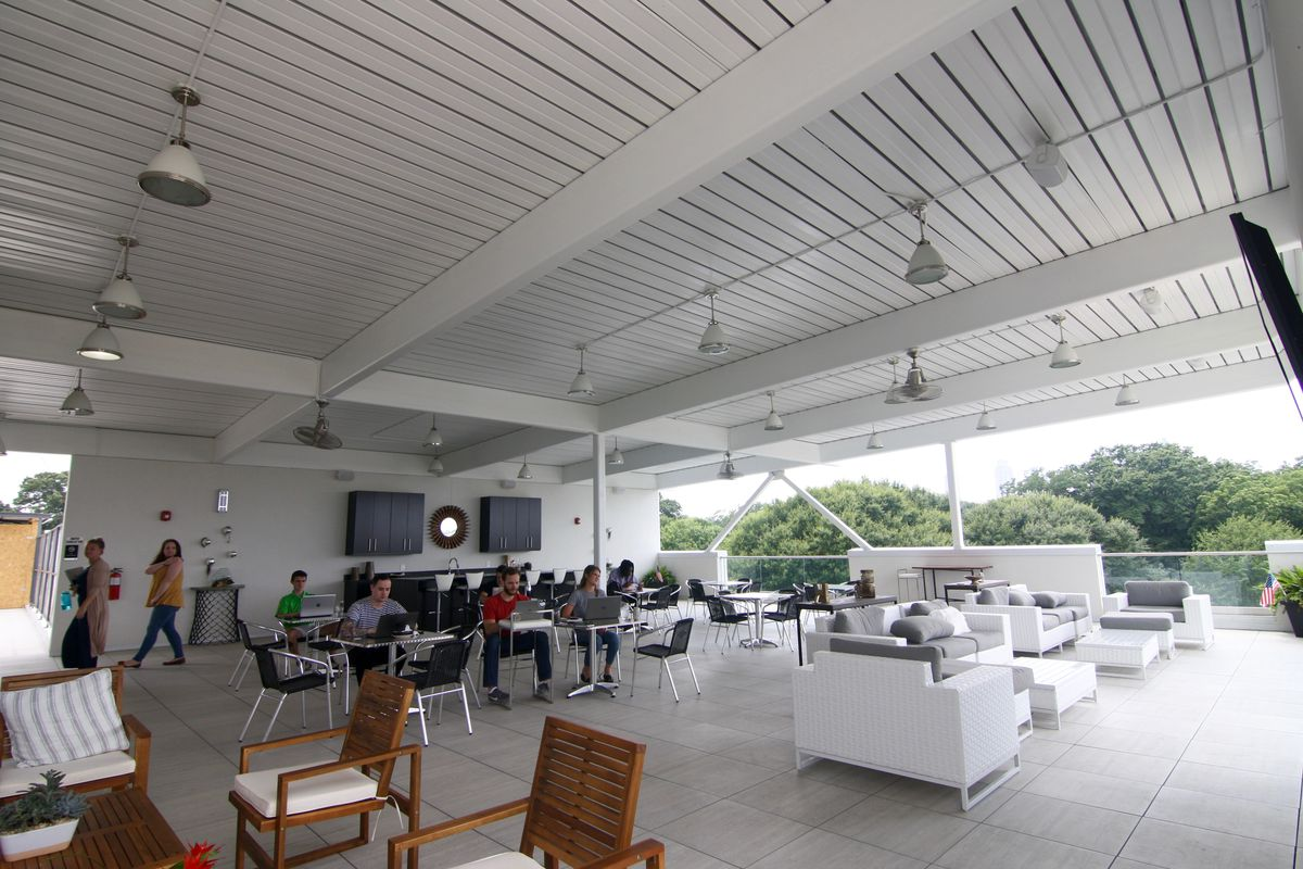 The Willoughby's open-air rooftop workspaces and lounge.