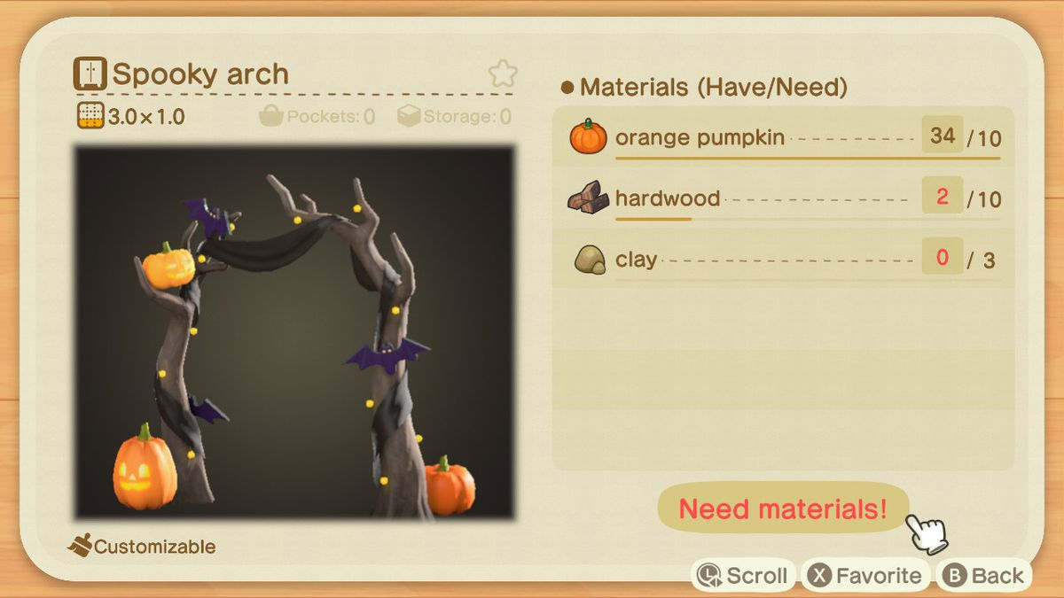 An Animal Crossing recipe for a Spooky Arch